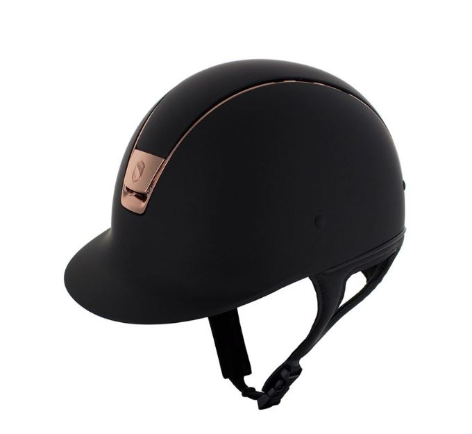 A black Samshield riding helmet with rose gold details.