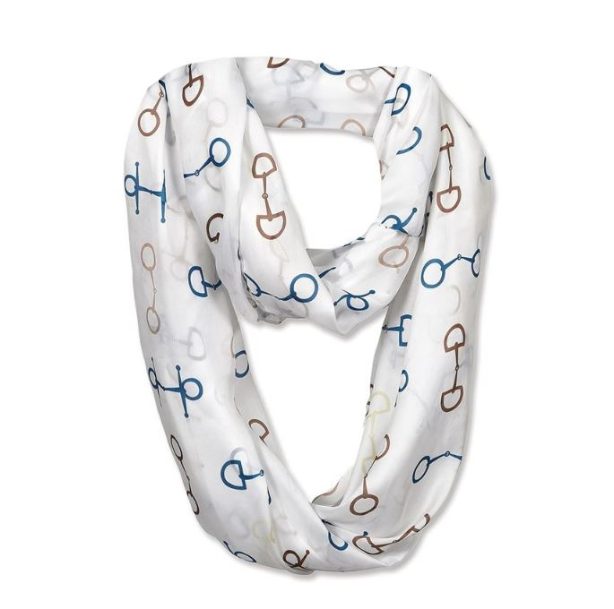 White infinity loop scarf with blue and brown bits on it.