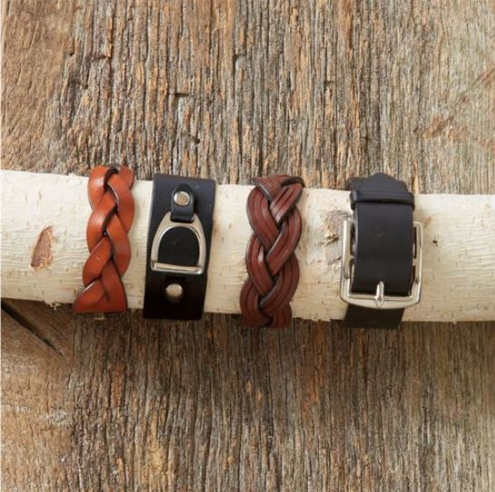 Four styles of leather Strap Goods Bracelets.