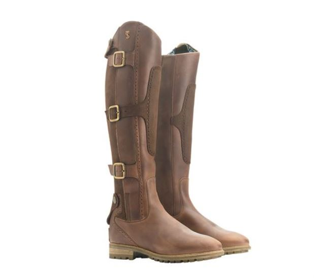 A pair of Tredstep brown tall riding boots.