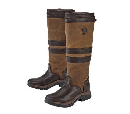 A pair of tall Ariat Braemar GTX Boots with dark brown toes and stripes over tan leather.