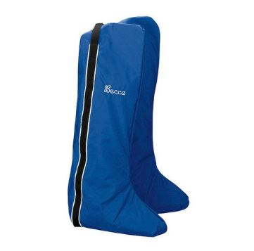 "Blue English double boot bag with black vertical stripe on the side and monogram near the top that reads ""Becca"" in white script."