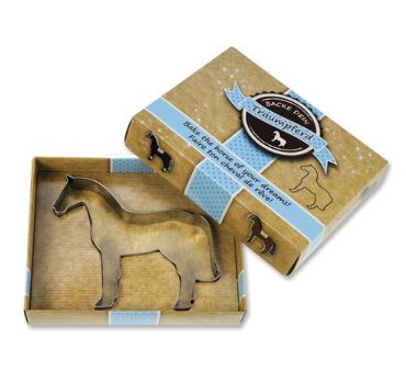 "Silver horse-shaped ""Horse of Your Dreams"" Cookie Cutter by Kelley and Company in tan box as a holiday gift."