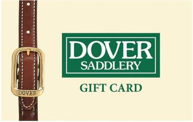 Dover Saddlery holiday Gift Card banner with yellow background, green logo, and leather strap design.