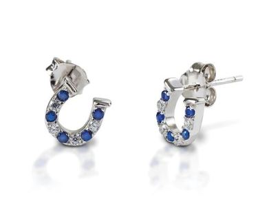Horseshoe shaped sterling silver stud earrings with blue and clear cubic zirconia stones that make a perfect holiday gift.