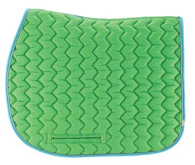 Lime and light blue Lettia CoolMax saddle pad that helps keep your horse cool and dry even in hot weather.