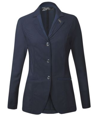 Navy blue AA Platinum Ladies' MotionLite Competition Jacket that offers unrivaled airflow to help keep you cool during hot show days this summer.