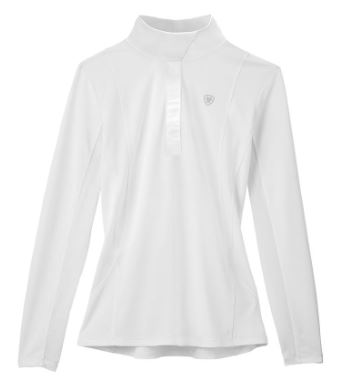 White Ariat SunStopper Show Shirt that offers optimal airflow to help keep you cool while riding this summer.