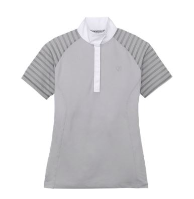 Grey Ariat Aptos VentTek Show Shirt with short mesh sleeves to help you stay cool while riding and competing all summer.
