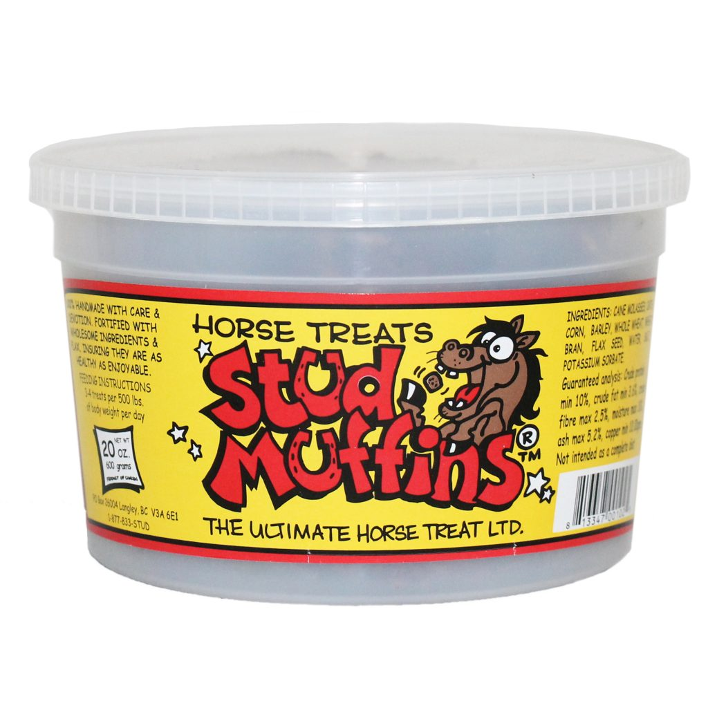 Tub of Stud Muffins horse treats with yellow label and red print.