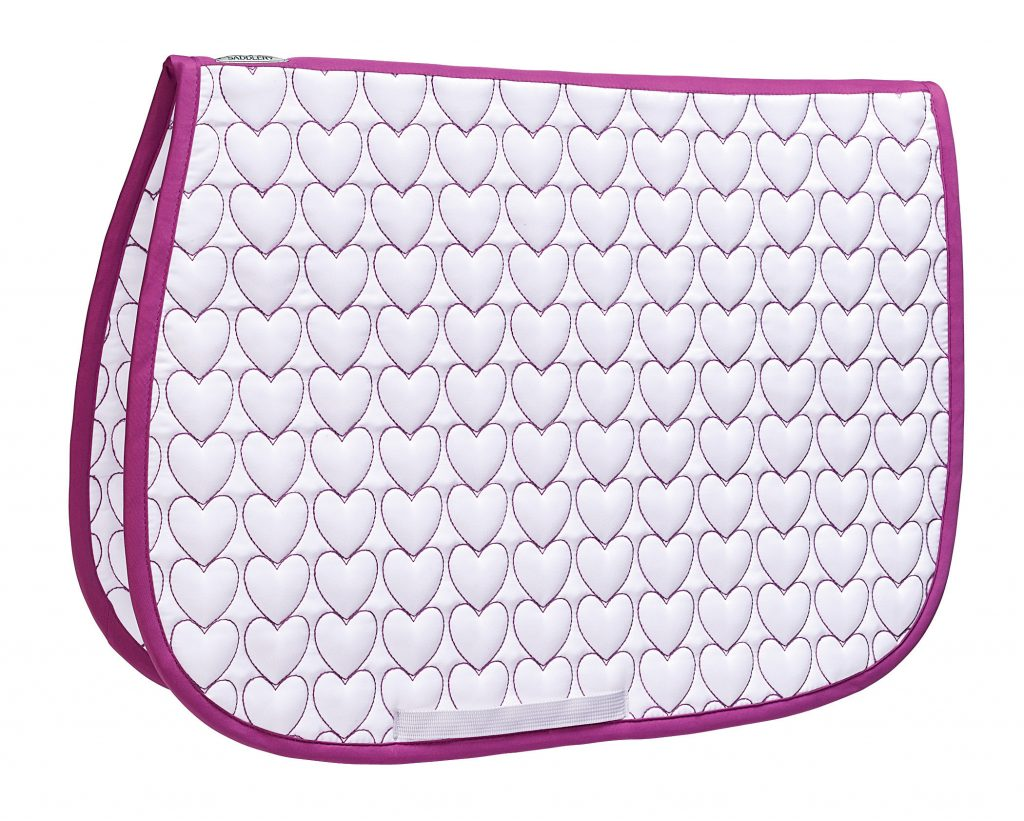 Dover Saddlery Novelty All-Purpose Saddle Pad in Pink/White Hearts. White quilting with pink-outlined heart pattern and pink piping.