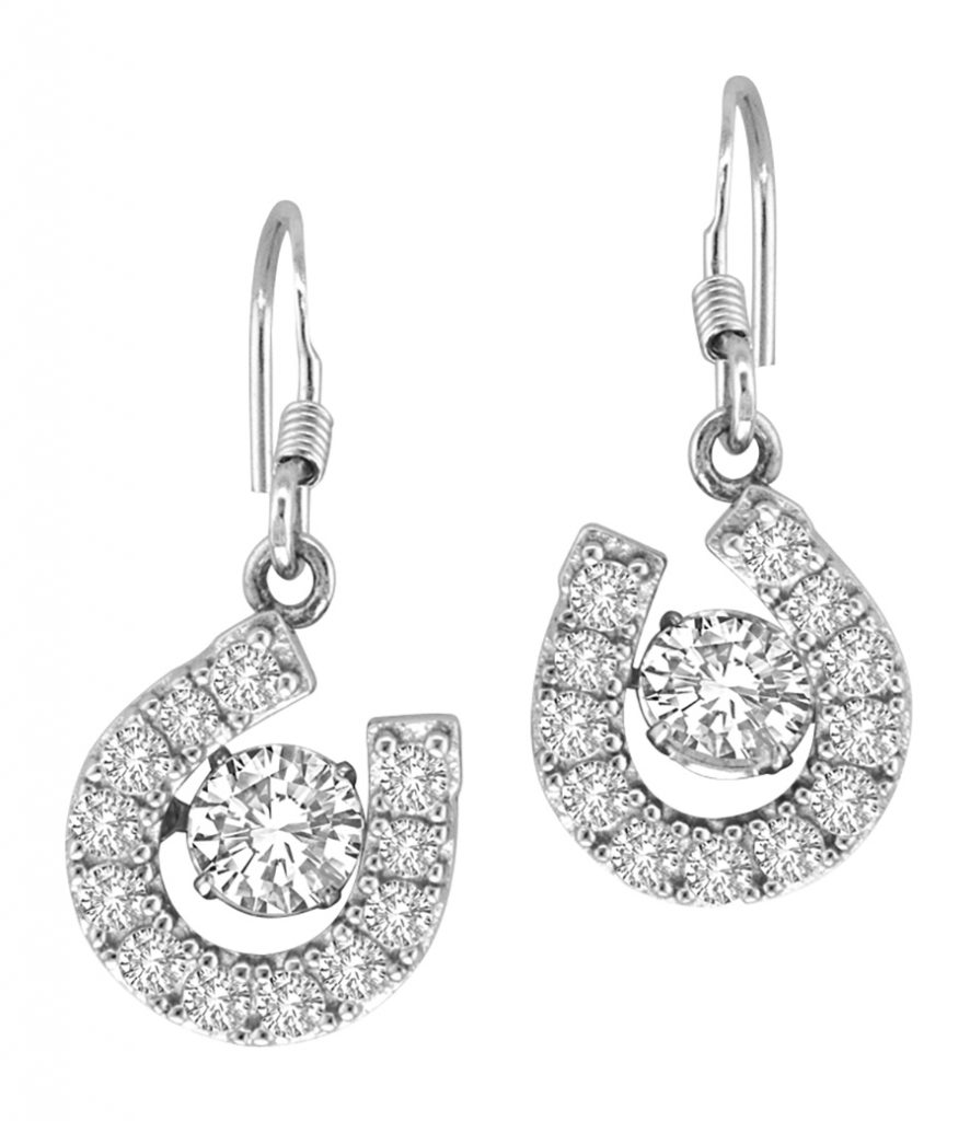 Valentine's Day gift pick: sterling silver Kelly Herd Horseshoe Dangle Earrings adorned with cubic zirconia stones.