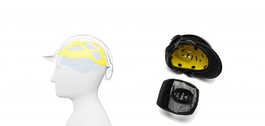 Yellow MIPS liner is shown inside of a helmet and how it sits on a riders head when wearing a helmet