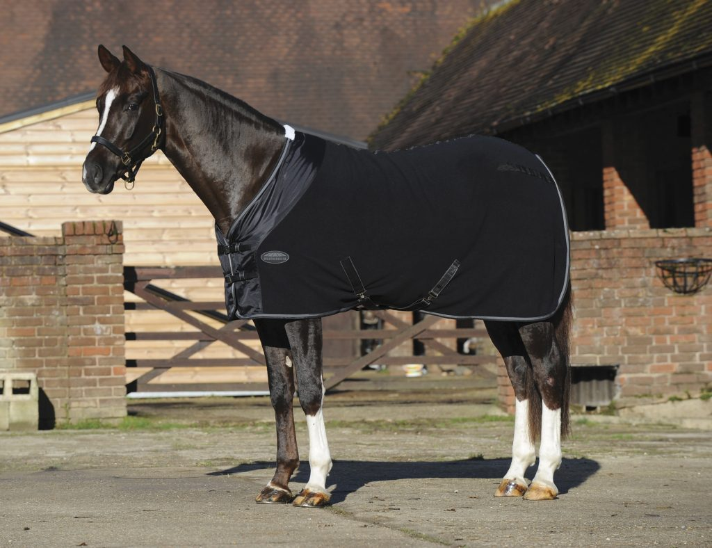 A dark bay horse is standing in front of a barn wearing a black fleece cooler.