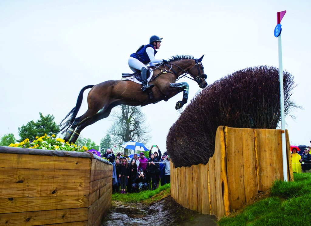 Horse and rider are jumping over a cross country jump. The view is looking up towards the sky from below the horse and rider.